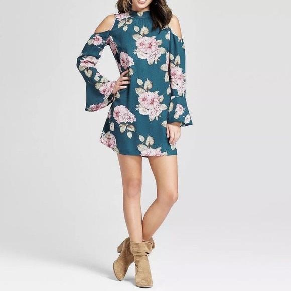 Xhilaration Dresses & Skirts - Xhilaration Teal Floral Cold Shoulder Dress Size M